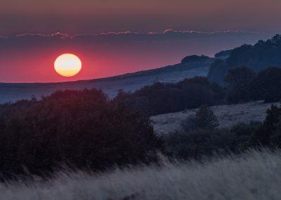 coucher de soleil entre Bonnecombe et les Hermaux